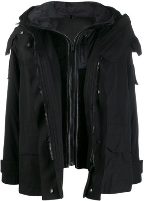 Yves Salomon Layered Hooded Coat