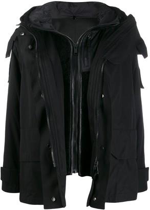 Yves Salomon Army layered hooded coat