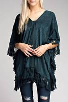 Honey Punch Suede Fringe Poncho