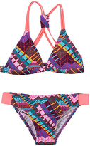 Beach Rays Purple Geometric Bikini - Girls