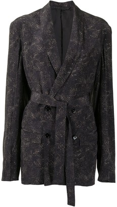 Lemaire Abstract Print Silk Double-Breasted Jacket