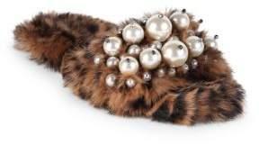 Miu Miu Embellished Leopard-Print Rabbit Fur Slides