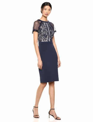 Tadashi Shoji Women's S/S Dress with Neoprene SKRT and LACE Bodice