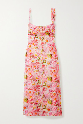 Commission Buckle-detailed Gathered Floral-print Satin Midi Dress - Pink