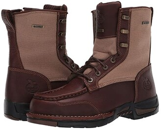 Georgia Boot Upland 8 Moc Toe Side Zip (Brown) Men's Boots