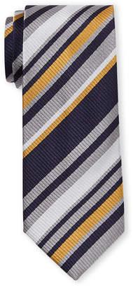 Missoni Navy Multi Color Texture Stripe Silk Tie