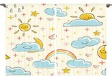Ambesonne Girls Boys Kids Toddlers Baby Room Playroom Decor Collection, Children Cartoon Sun Cloud Rainbow Moon Hearts Rain, Window Treatments for Kids Bedroom Curtain 2 Panels Set, 108X84 Inches