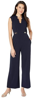 Tahari ASL Petite Notch Neck Crepe Jumpsuit w/ Side Buckle Hardware Detail (Navy) Women's Jumpsuit & Rompers One Piece