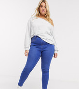 New Look Plus Curve shaper jegging in mid blue