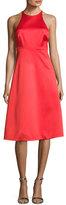 Halston Sleeveless High-Neck Cocktail Dress w/ Back Bow