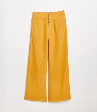 LOFT Lou & Grey High Rise Button Front Wide Leg Linen Pants