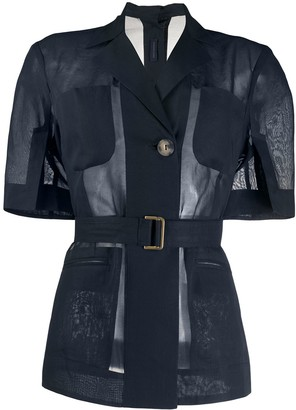 Eudon Choi Short-Sleeved Belted Organza Jacket