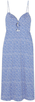 Saloni Jana Cutout Printed Cotton-blend Midi Dress