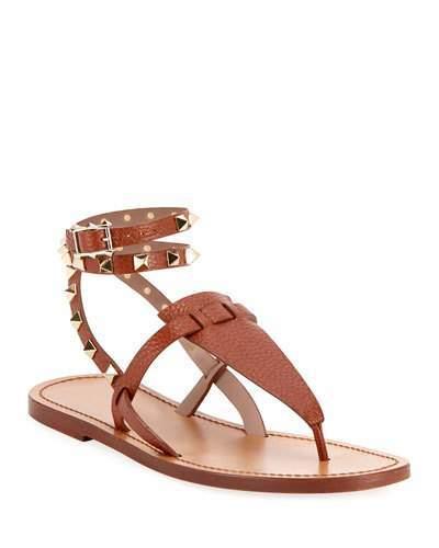 Rockstud Flat Ankle Wrap Gladiator Sandals tdrshQC