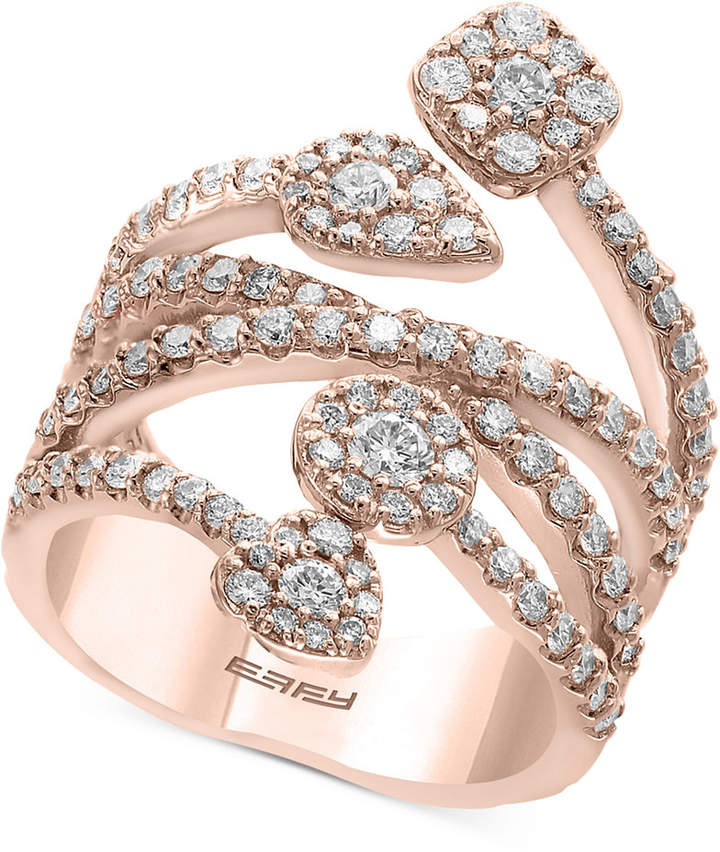 Effy Pave Rose by Diamond Vine Statement Ring (1-3/8 ct. t.w.) in 14k Rose Gold