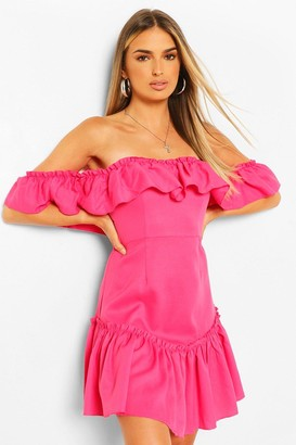 boohoo Off The Shoulder Frill Hem Swing Dress