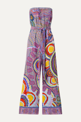 Camilla Strapless Belted Crystal-embellished Printed Silk-crepe Jumpsuit - Purple