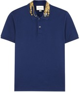 Gucci Blue Embroidered Piqué Cotton Polo Shirt