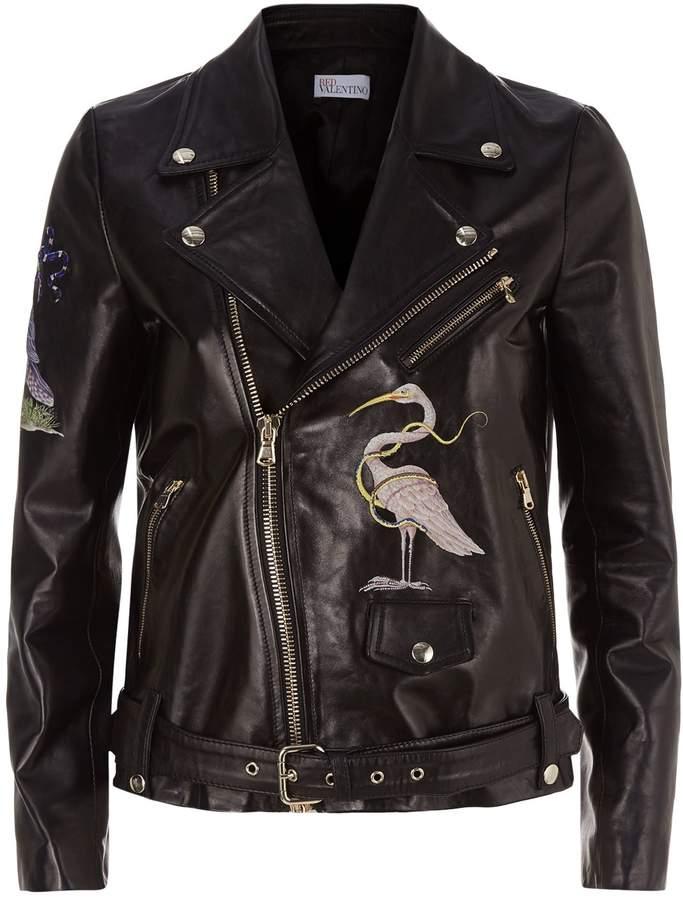 RED Valentino Embellished Leather Biker Jacket