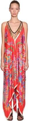Etro Printed Silk Dress W/ Tassel Necklace