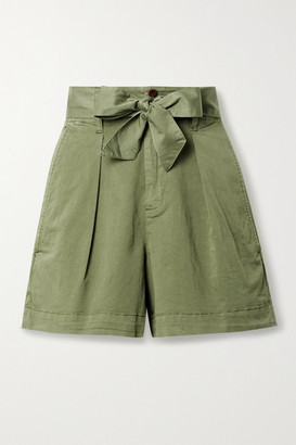 Alex Mill Expedition Belted Pleated Cotton-blend Poplin Shorts - Green