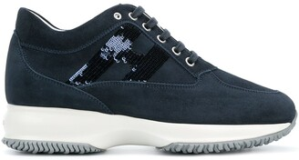 Hogan sequinned logo lace-up sneakers