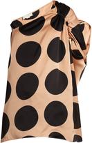 Stella McCartney Asymmetric polka-dot print silk top