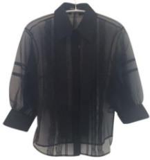 Markus Lupfer Sheer Lace Organza Effie Blouse - Small / Black - Black