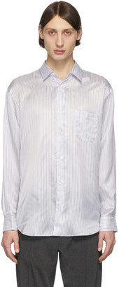 Comme des Garcons White and Blue Striped Cupro Shirt