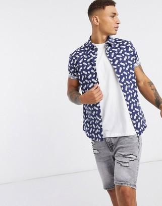 ASOS DESIGN stretch slim shirt in navy with fruit print