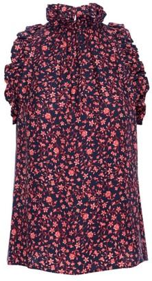 Frame Floral Flounce Silk Sleeveless Top