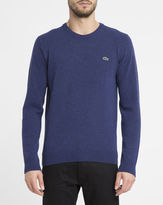Lacoste Blue Chest Logo New Wool Round-Neck Sweater