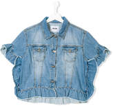 MSGM Teen frilled sleeve denim jacket