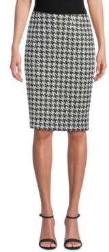 Kasper Petite Houndstooth-Print Pencil Skirt