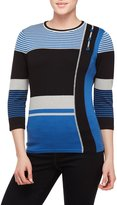 Allison Daley Petites 3/4 Sleeve Colorblock Pullover