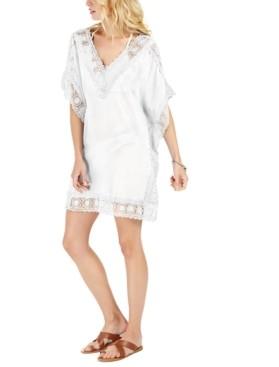 La Blanca Cotton Island Fare Crochet-Trim Tunic Cover-Up Women's Swimsuit