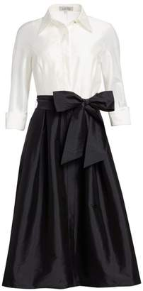 Teri Jon By Rickie Freeman Two-Tone Collared Taffeta Gown
