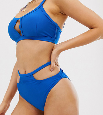 Wolfwhistle Wolf & Whistle Exclusive cut out high waist bikini bottom in cobalt blue