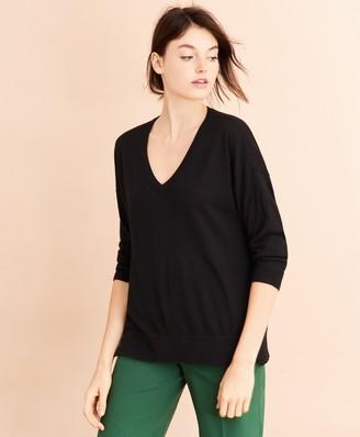 Brooks Brothers Merino Wool Pointelle-Detail V-Neck Sweater