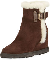Aquatalia Caitlyn Fur-Trim Wedge Boot