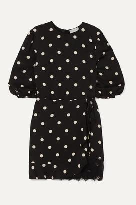 Rebecca Vallance Penelope Lace-trimmed Ruffled Polka-dot Crepe Mini Dress - Black