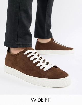 Asos Design DESIGN Wide Fit trainers in brown faux suede with crepe look sole