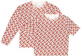 BURBERRY KIDS Logo wool-jacquard cardigan