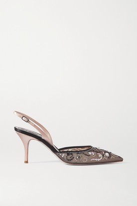 Rene Caovilla Veneziana Crystal-embellished Satin And Mesh Slingback Pumps - Black
