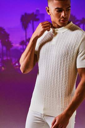boohoo Mini Cable Knit Short Sleeve Muscle Fit Polo
