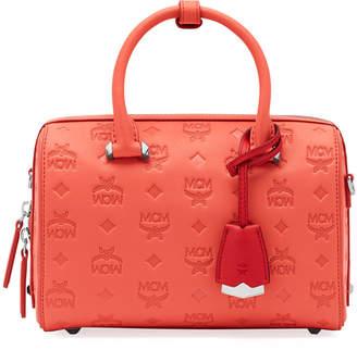 MCM Essentials 23 Monogram Leather Boston Bag