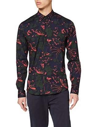 Scotch & Soda Men's Slim Fit-Cotton/elastan Shirt with All-Over Pattern Casual,Medium