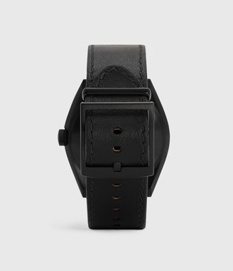 AllSaints Subtitled GMT III Black Stainless Steel and Black Leather Watch