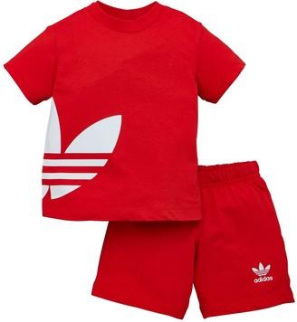 adidas Big Trefoil Shorts Tee Set - Red