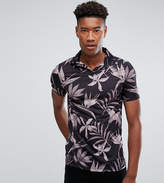 Asos TALL Polo Shirt With Revere Collar In Floral Print